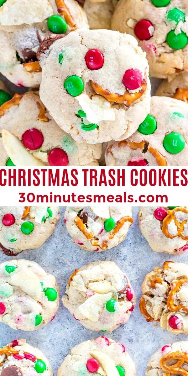 easy Christmas trash cookies pin