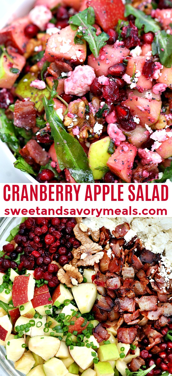Cranberry Apple Salad is an easy festive side dish perfect for Christmas and Thanksgiving. #cranberries #30minutemeals #saladrecipes #sidedish #thanksgivingrecipes