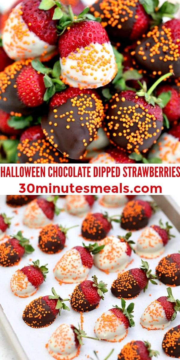 easy Halloween Chocolate Dipped Strawberries pin