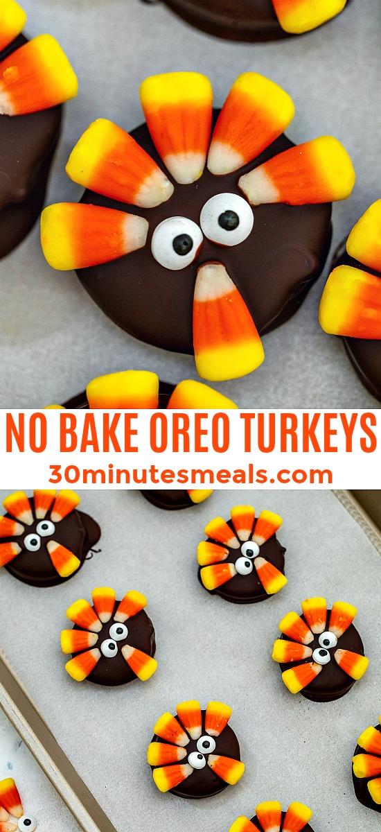 Easy Thanksgiving oreo turkeys