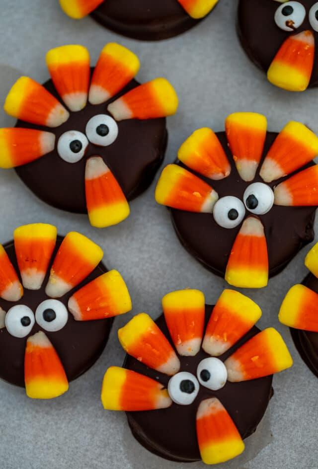 Oreo cookies made into turkeys
