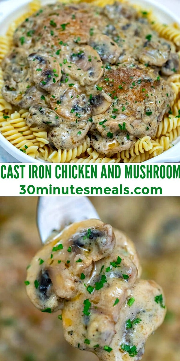 Easy Cast Iron Chicken and Mushrooms pin