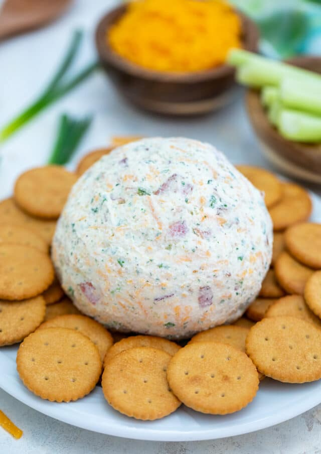 Cheddar Ranch Cheese Ball is the perfect Holiday appetizer made of cheddar cheese, ranch seasoning, and obviously bacon! #cheeseball #cheese #30minutemeals #appetizers #partyfood