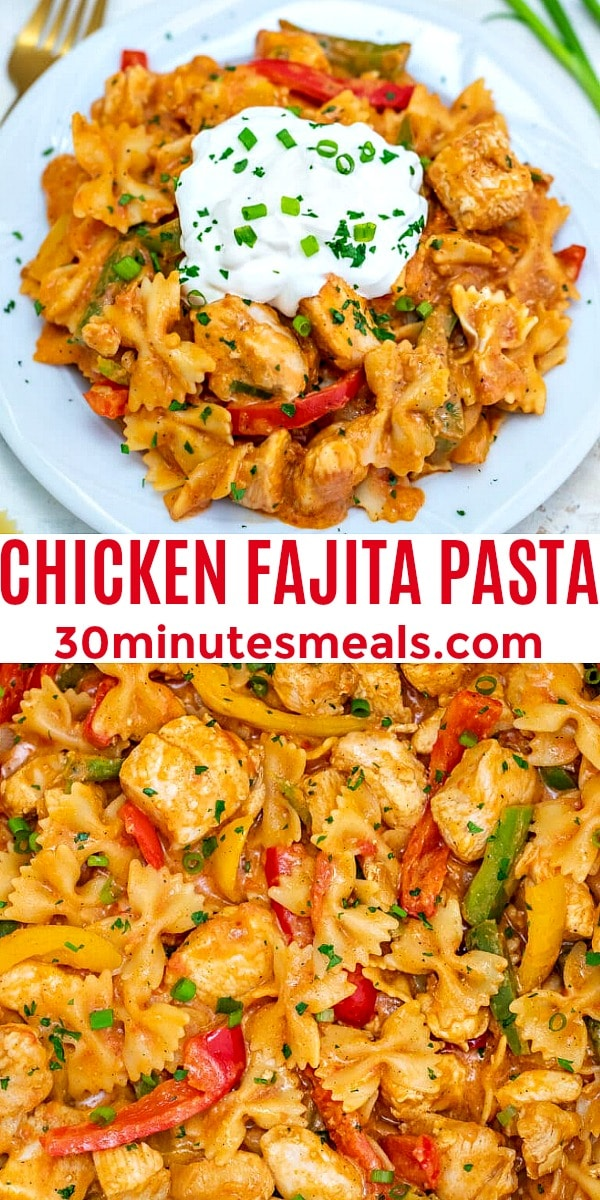 Photo of Chicken Fajita Pasta pin