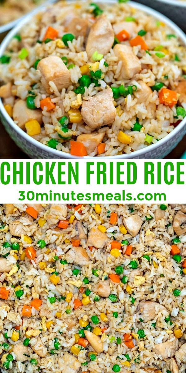 Chicken Fried Rice is an easy, one-skillet recipe that is ready in less than 30 minutes and tastes better than takeout! #friedrice #chickenfoodrecipes #30minutemeals #chickenrecipes #chinesefood