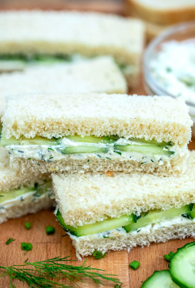 Cucumber Sandwiches are the perfect refreshing and delicious finger food. They are ready in minutes and can be enjoyed as appetizers or with tea. #cucumbersandwiches #sandwiches #teasandwiches #30minutemeals #fingerfood