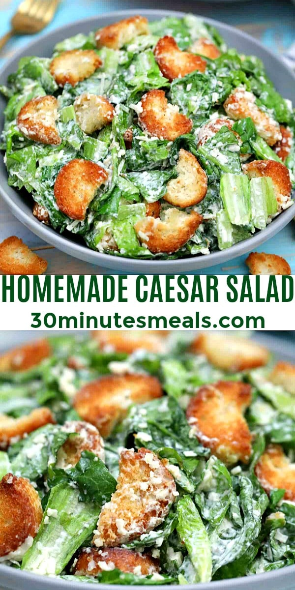 Easy Homemade Caesar Salad pin