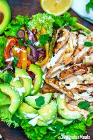 Easy Grilled Chicken Fajita Salad with Avocado