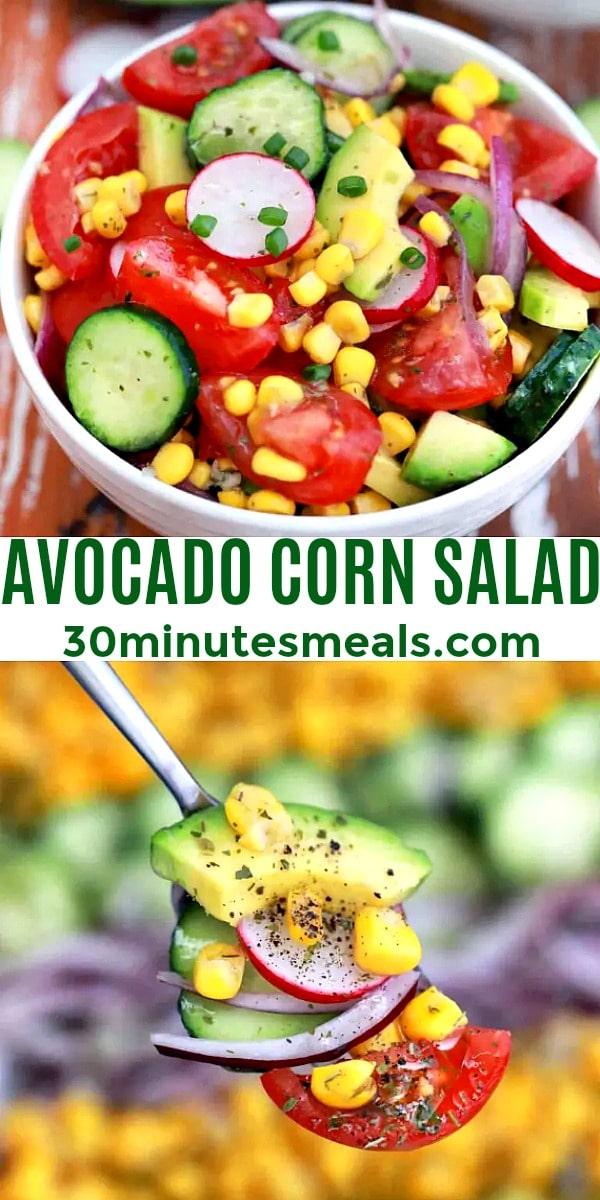 easy avocado corn salad pin