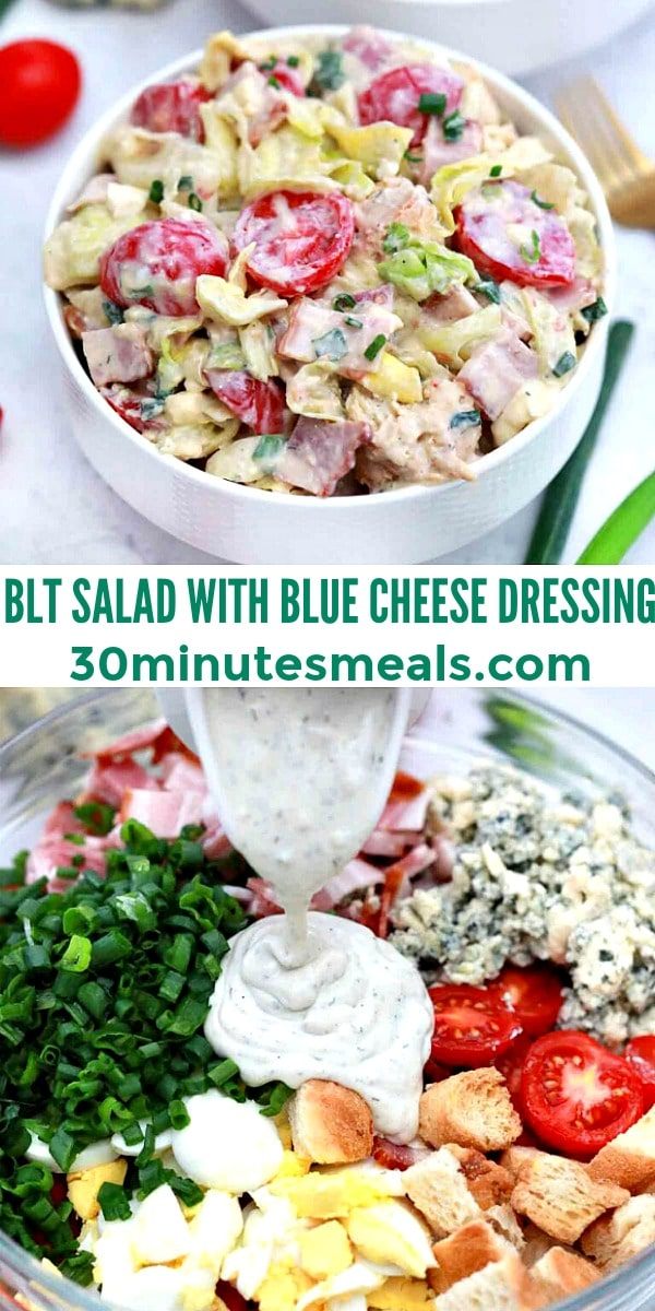 easy blt salad with blue cheese dressing pin