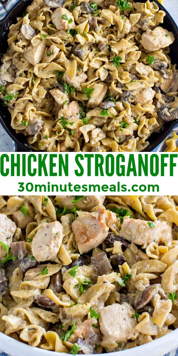 Chicken Stroganoff is creamy and hearty, loaded with thick egg noodles and juicy mushrooms. This easy weeknight dinner is ready in about 30 minutes. #30minutemeals #pastarecipes #chickenrecipes