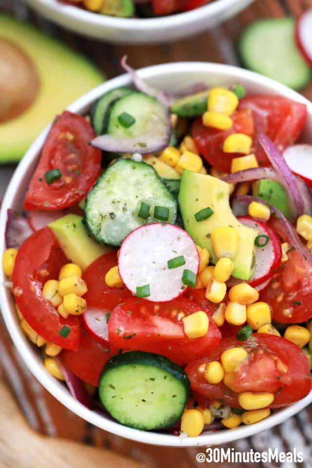 avocado corn salad with radish