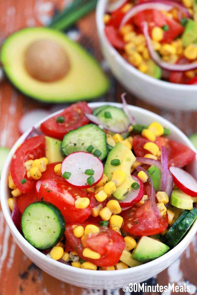 avocado corn salad in a bowl