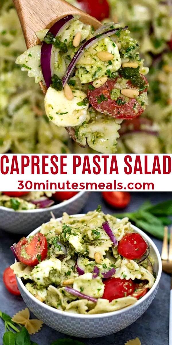 easy caprese pasta salad pin