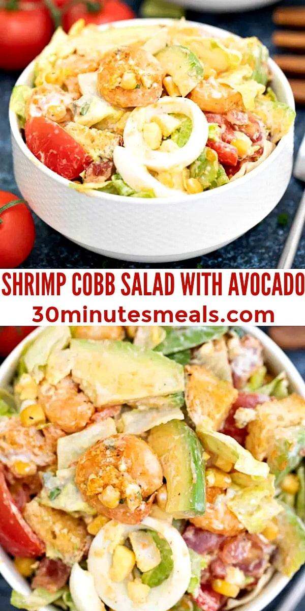 easy shrimp cobb salad with avocado pin