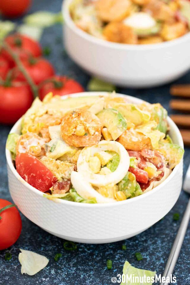 shrimp Cobb salad in a bowl