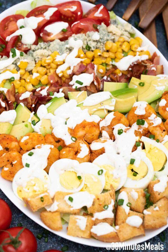 shrimp Cobb salad on a serving plate