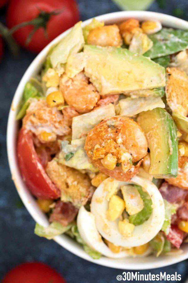 shrimp Cobb salad with avocado