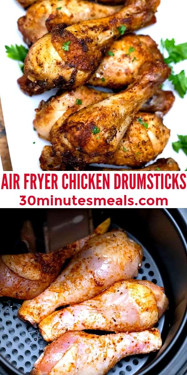 easy air fryer drumsticks pin