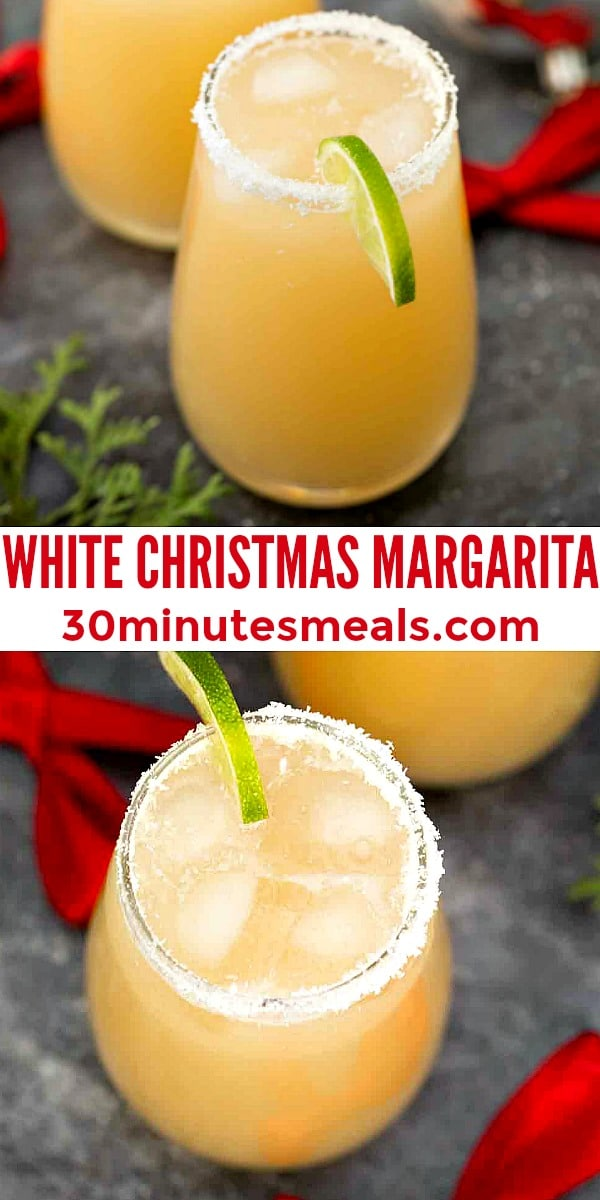 easy white christmas margarita pin