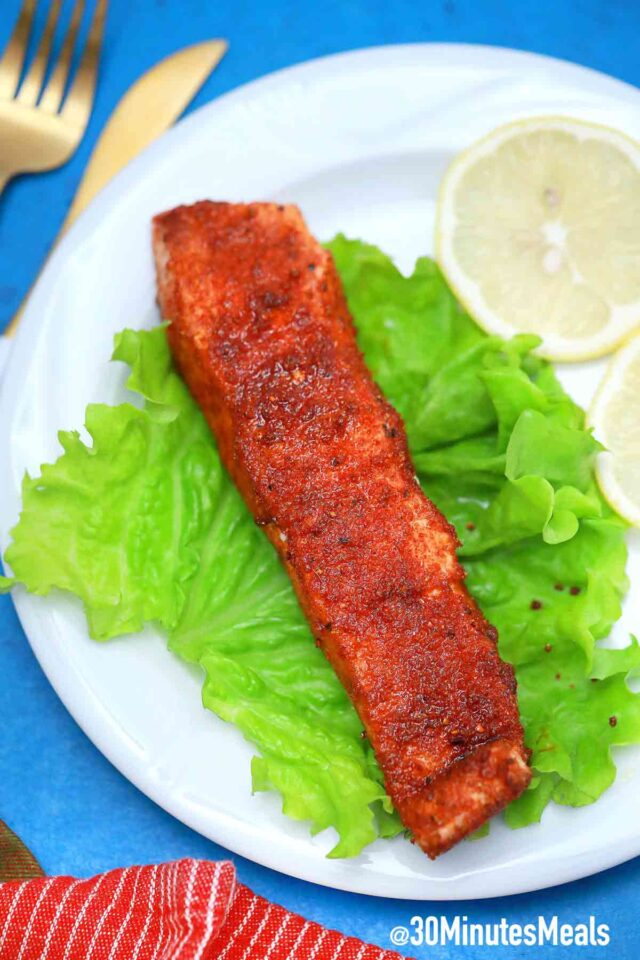 air fryer salmon with lemon