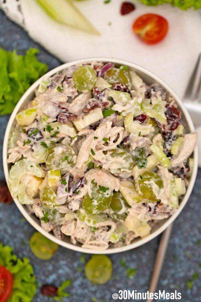 turkey salad in a bowl