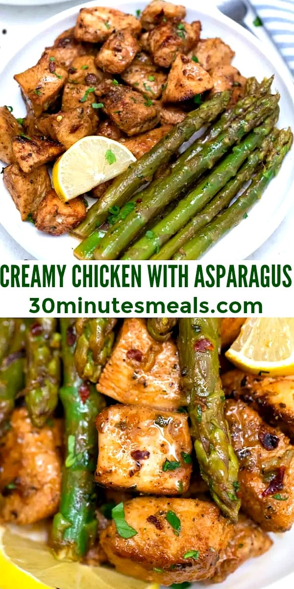 easy creamy chicken with asparagus pin