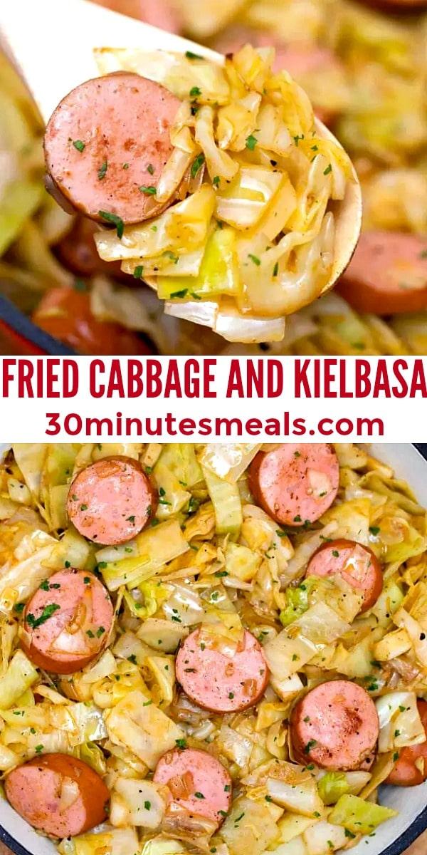easy fried cabbage and kielbasa pin