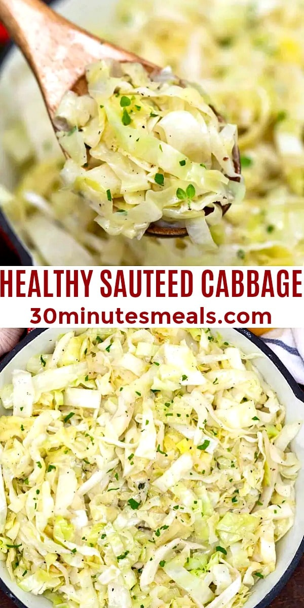 easy healthy sauteed cabbage pin