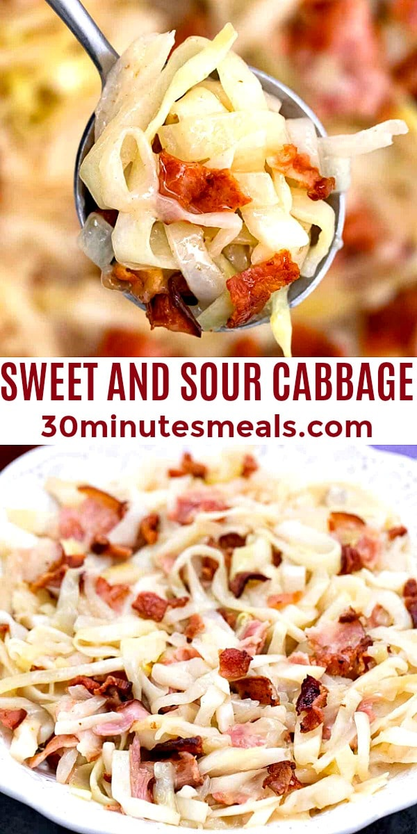 easy sweet and sour cabbage pin