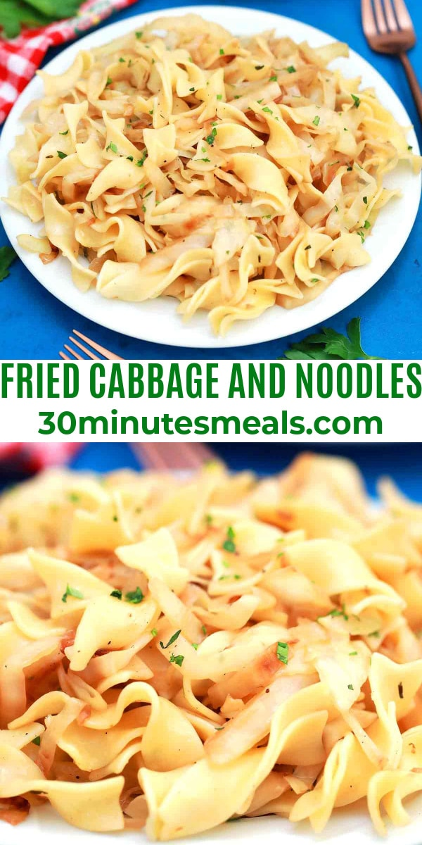 easy fried cabbage and noodles pin