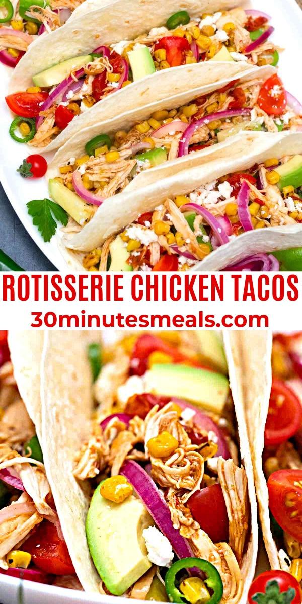 easy rotisserie chicken tacos pin