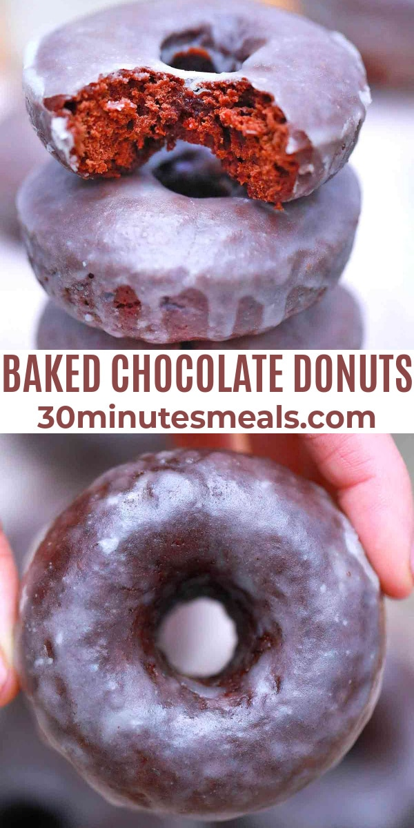 easy baked chocolate donuts pin