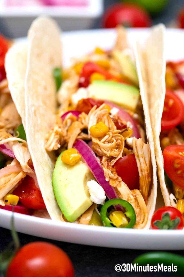 homemade rotisserie chicken tacos