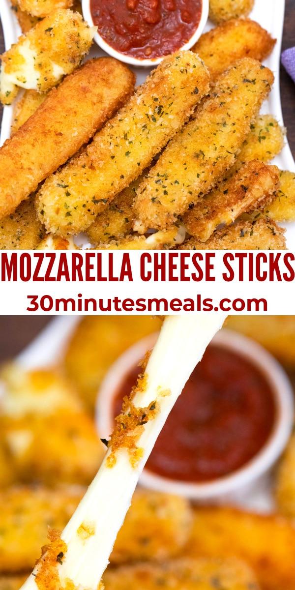 easy mozzarella cheese sticks pin