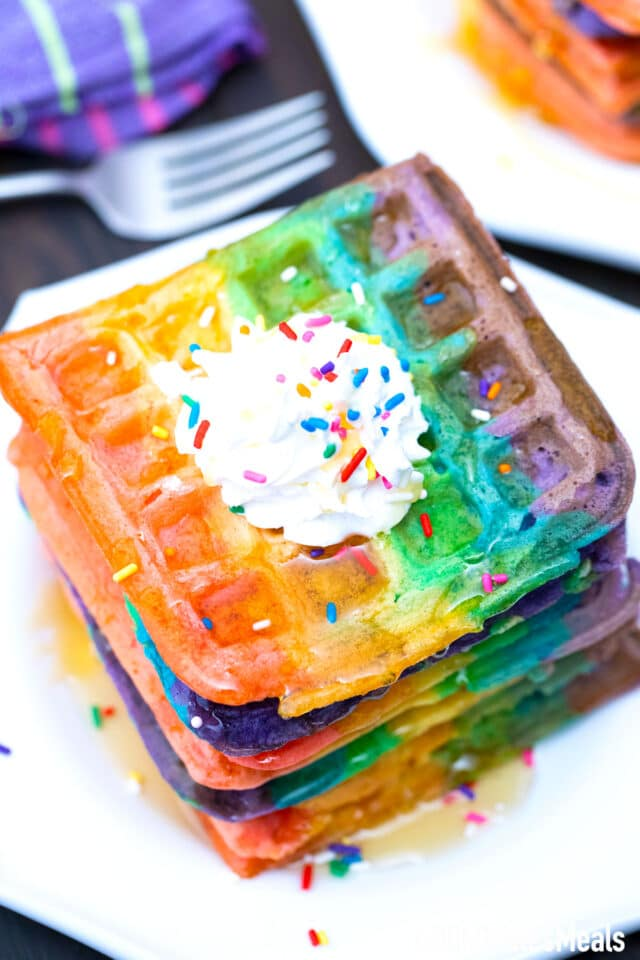 homemade easy rainbow waffles