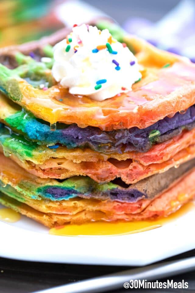 easy fluffy rainbow waffles