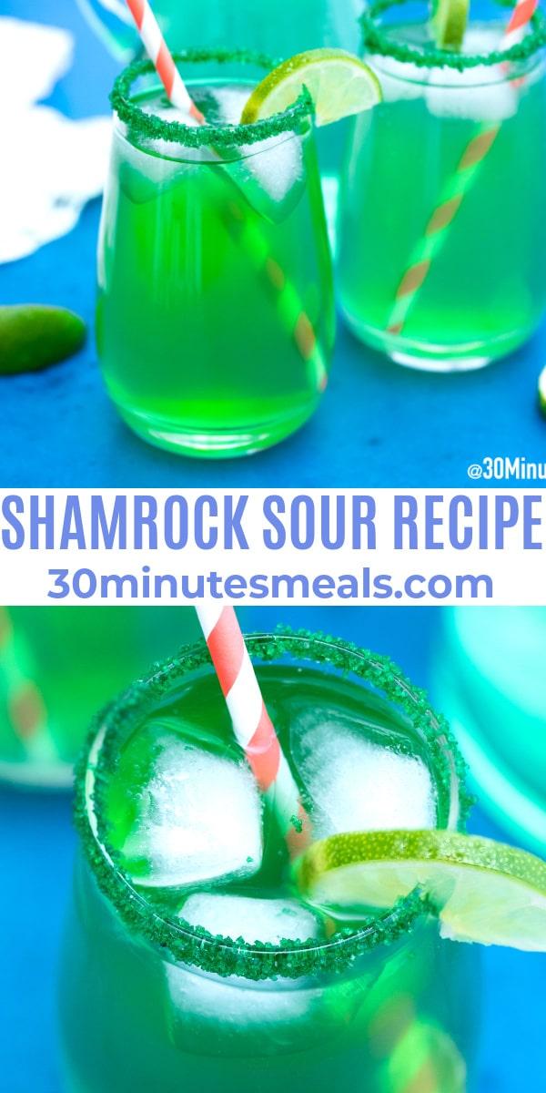easy shamrock sour recipe pin