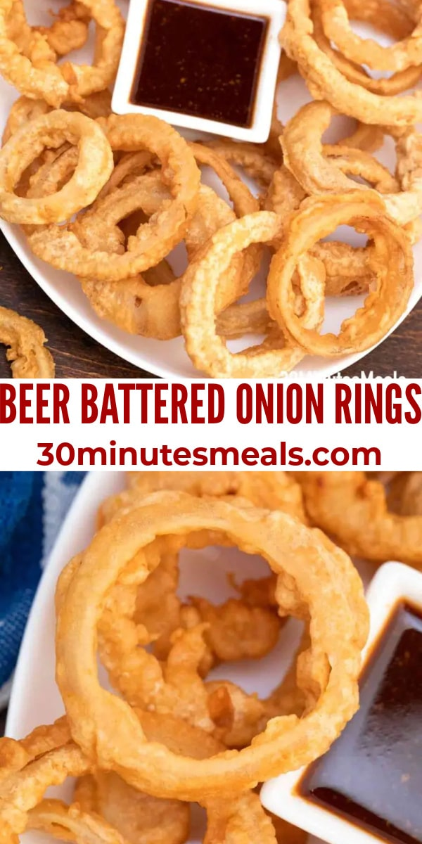 easy beer battered onion rings pin