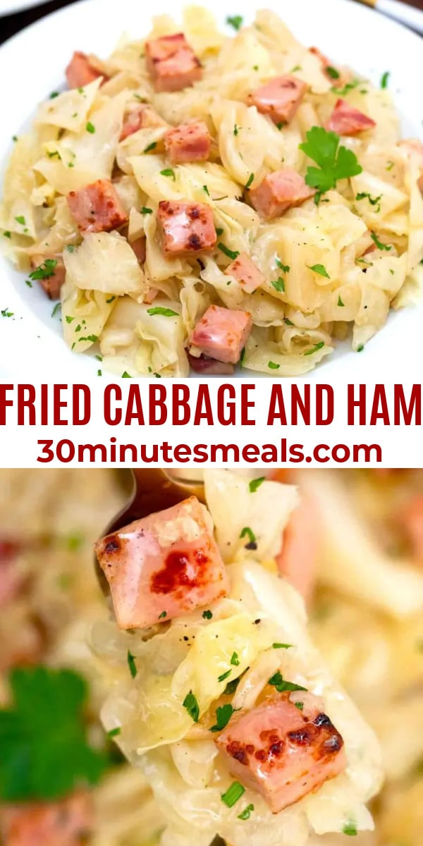 easy fried cabbage and ham pin