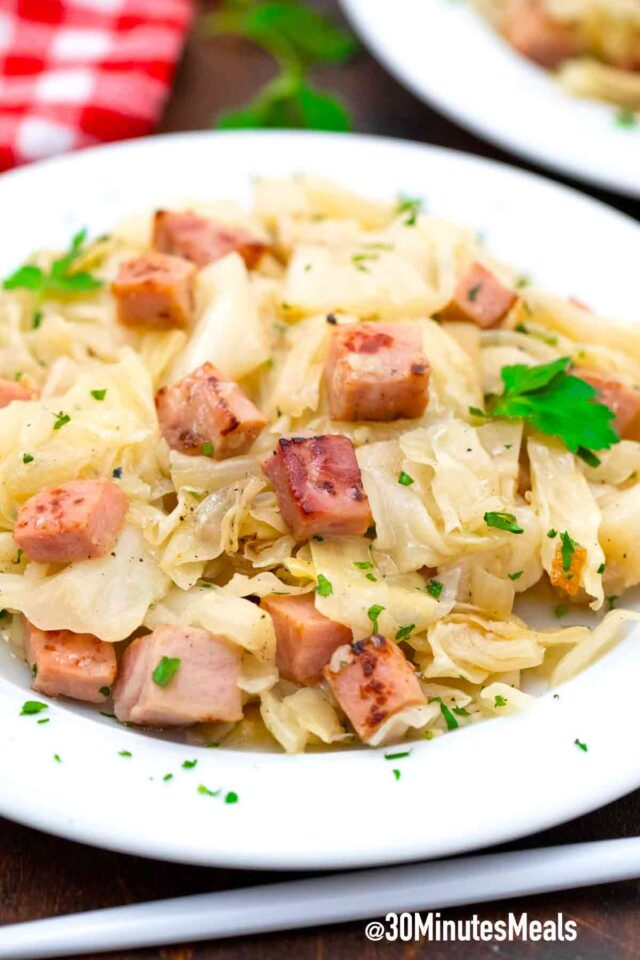 fried cabbage and ham