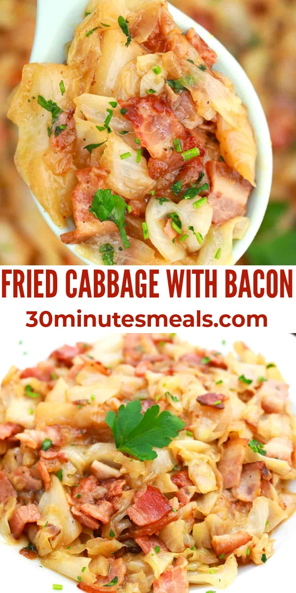 easy fried cabbage with bacon pin