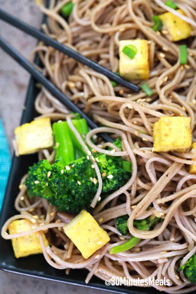 easy vegetarian sesame noodles with tofu