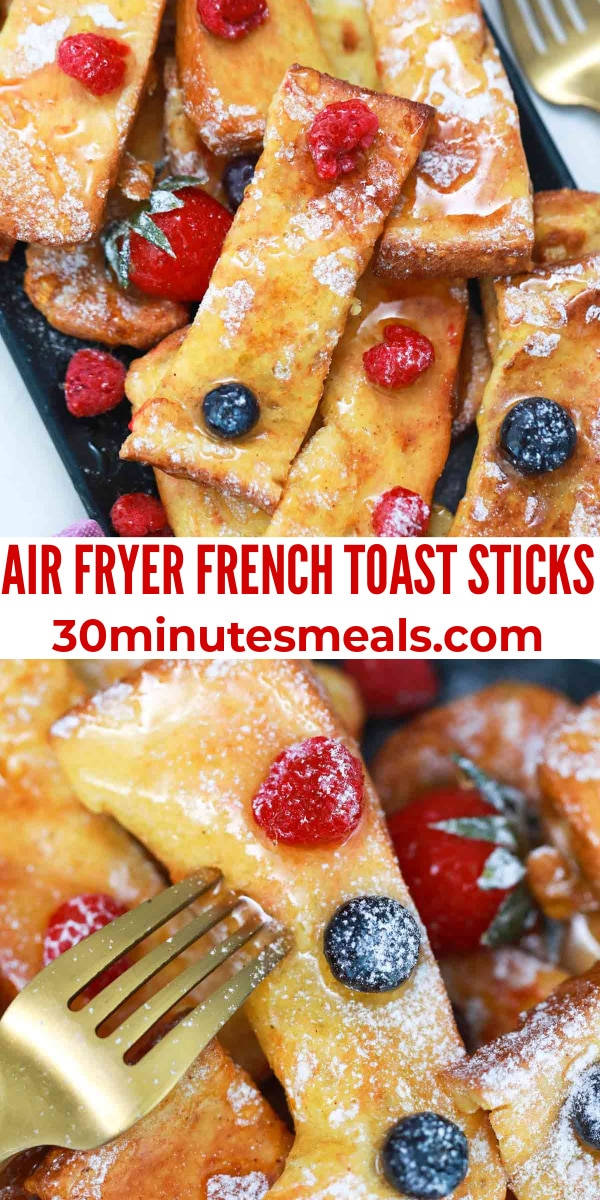 easy air fryer french toast sticks pin