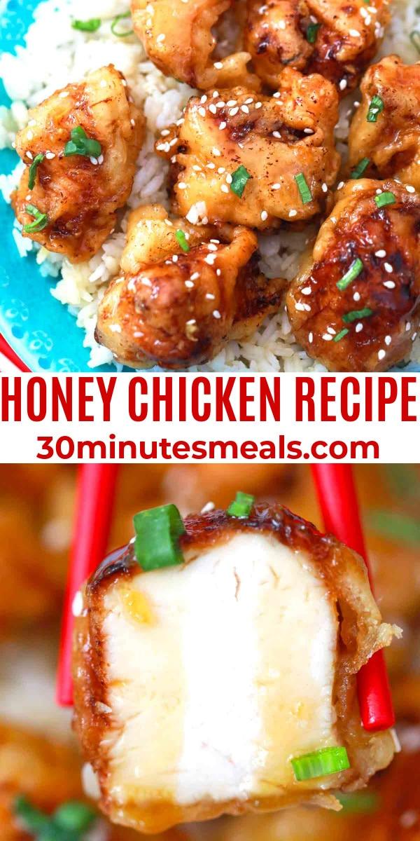 easy honey chicken recipe pin