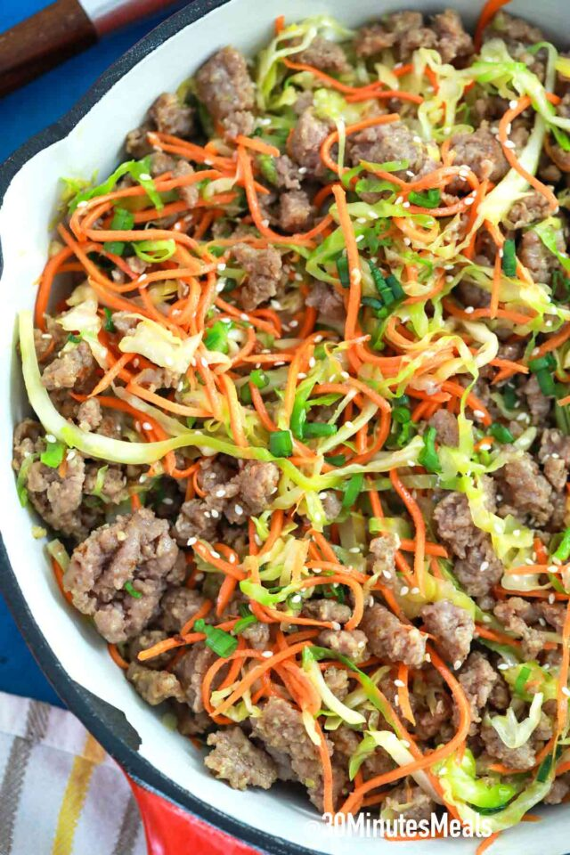 egg roll in a bowl with beef