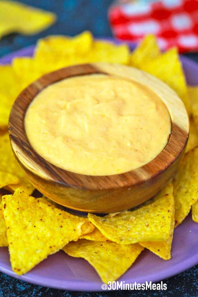 nacho cheese dip with corn chips