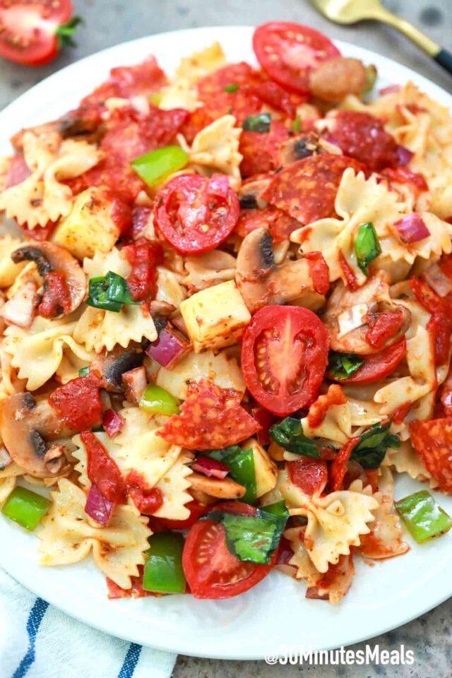 easy pepperoni pizza pasta salad