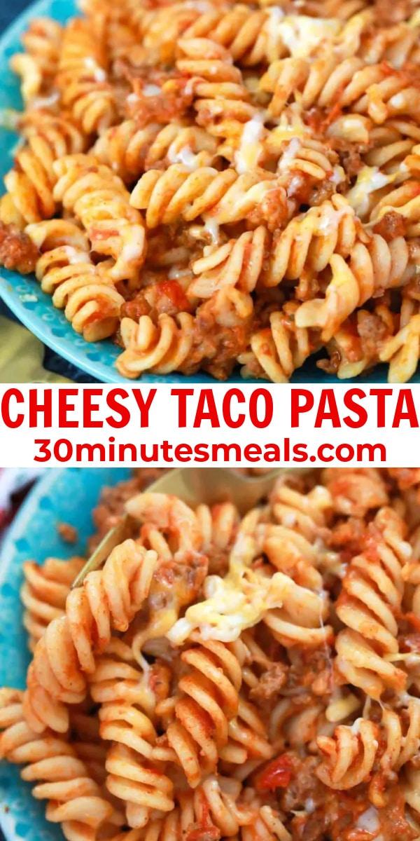 easy cheesy taco pasta pin