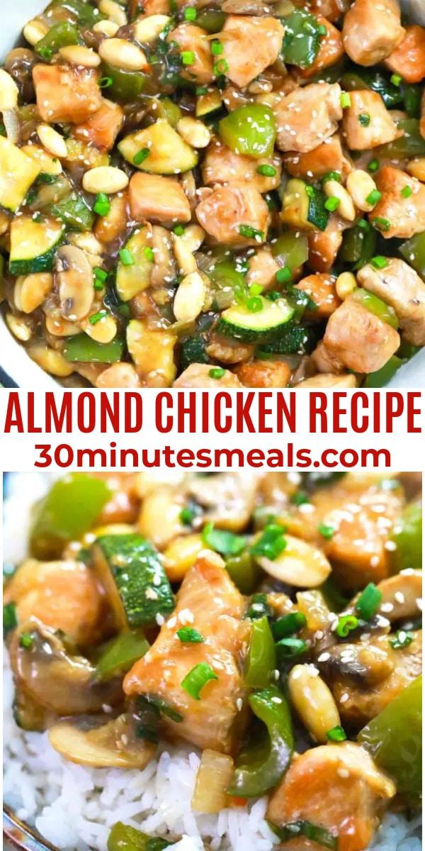 easy almond chicken recipe pin